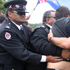 Protesters clash with Maori Wardens on the Te Tii Marae during the National Party's visit the day before Waitangi Day. Photo / Natalie Slade
