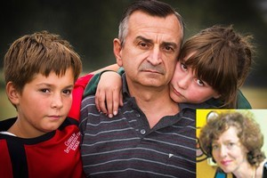 Srecko 'Alec' Cvetanov - pictured yesterday with his children Todor and Katerina - spoke by cellphone to his wife Tamara (inset) as she lay trapped in the CTV building. Photos / Martin Hunter, Supplied