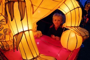 4-year-old Zach Reynolds admires one of the displays at the Lantern Festival in Albert Park. Photo / Sarah Ivey