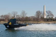 The Phibian performs for an audience including US military engineers on the Potomac River in Washington DC. Photo / Mark Finkenstaedt