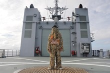 John Reynolds' gillie guise was a spooky sight for HMNZS Otago sailors. Photo / Jason O'Hara