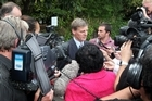 Bill English with the media in Rotorua before a consultation hui on the partial sale of state owned assets. Photo / The Daily Post
