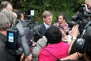Bill English speaks with the media after consulting with Iwi over the sale of SOE assets. Photo / Andrew Warner.