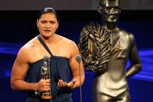 Valerie Adams with her sportswoman of the year trophy at the Halberg Awards ceremony last night. Photo / Richard Robinson