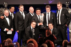 The All Blacks win the supreme award at the 2011 Westpac Halberg Awards. Photo / Richard Robinson