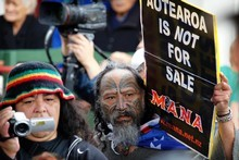 A protester inside Te Tii Marae during National's visit the day before Waitangi Day.  Photo /  Natalie Slade