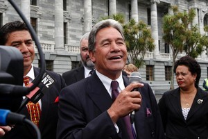 New Zealand First leader Winston Peters during his argument with anti-Government protester organiser Jonathan Elliot at Parliament. Photo / Mark Mitchell
