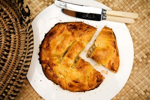 Chicken, herb and vegetable pie. Photo / Babiche Martens