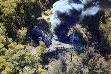 Smoke billows from the ventilation shaft after one of the blasts in the Pike River coal mine. File photo / NZPA