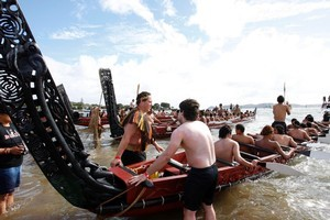 The waka fleet prepares to leave Ti Beach during Waitangi Day activities. Photo / APN