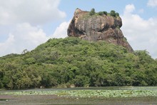 The fortress, as seen from from Sigiriya tank (a man-made lake). Photo / Leigh Noble