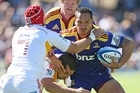 Hosea Gear is tackled during the Super Rugby trial match against the Chiefs. Photo / Getty Images