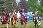 Knights prepare to do battle in the tournament at Blenheim Palace. Photo / Jim Eagles