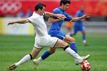 Ryan Nelsen in action for the NZ Olympic soccer team against Brazil at the 2008 Olympics. Photo / Getty Images