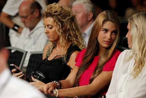 Sally Ridge and daughter Jamie ringside at the Sonny Bill Williams vs Clarence Tillman fight in Hamilton.