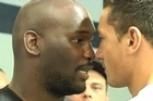 Sonny Bill Williams and Clarence Tillman traded blows during the weigh-in before tomorrow night's boxing match.
