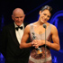 Para Swimming champion Sophie Pascoe receives her award from Sir Murray Helberg for Disabled Sportsperson of the Year at the 2012 Westpac Halberg Awards. Photo / Greg Bowker