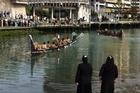Waka arriving at Wellington's Waitangi Day celebrations at the waterfront. Photo / Matthew Backhouse