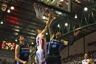Rhys Martin of the Hawks competes with Leon Henry of the Breakers for the ball. Photo / Getty Images