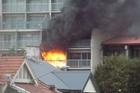 The fire at the Kingsgate Hotel, Dunedin. Twitpic / David Winter