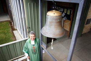 Vicar Christine Scott held a service at St Bride's Church in Otorohanga yesterday to rededicate the Pembroke Bell. Photo / Christine Cornege