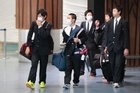 Japanese high school students on a flight from Narita were suspected of displaying flu-like symptoms. Photo / Richard Robinson