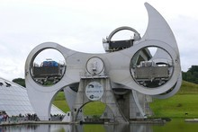 Scotland's Falkirk Wheel is a rotating boat lift connecting the Forth and Clyde Canal with the Union Canal since 2002. Photo / Supplied