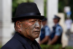 Tame Iti arrives at the Auckland High Court. The trial of four people charged over the Urewera raids begins today at the Auckland High Court. Photo / Brett Phibbs