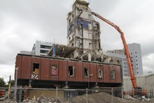 The demolition of MFL House on the corner of Colombo and Gloucester Streets. Photo / Geoff Sloan