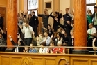 Members of the deaf community filled the public gallery in support of Mojo Mathers. Photo / Mark Mitchell