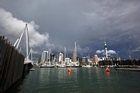 Thunder clouds roll over Auckland City yesterday. Photo / APN