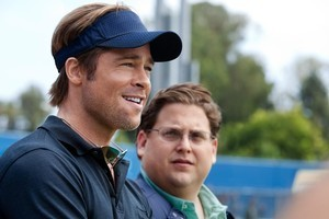 Brad Pitt with Jonah Hill in Moneyball. Photo / AP