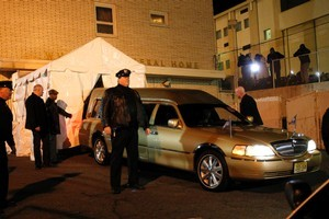 The body of Whitney Houston arrives at Whigham Funeral Home. Photo / AP