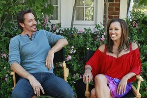 New Zealand's own Charles Mesure with Vanessa Williams on the set of Desperate Housewives. Photo / Supplied