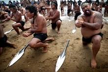 Waka ceremony and haka for Waitangi Day. Photo / Natalie Slade