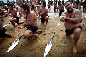 Waka ceremony and haka for Waitangi Day. Photo / Natalie Slade