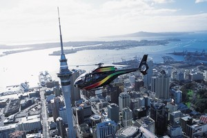 A helicopter offers a bird's-eye view of the city and harbour. Photo / Supplied