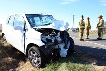 The scene at the crash in which Allan Hubbard was killed. Photo / Dan Tasker
