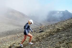 Anna Hutchinson describes running the Tongariro Crossing as hard but fun. Photo / Supplied