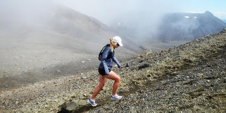 Anna Hutchinson describes running the Tongariro Crossing as hard but fun. Photo / Supplied