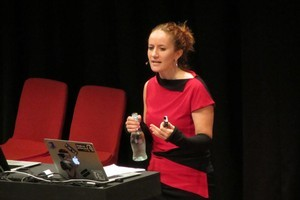 Microsoft's Dana Boyd speaking at Webstock today. Photo / Mark Webster