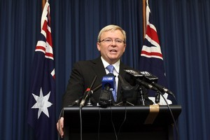 A tape of Kevin Rudd violently swearing was published just before his ousting in June 2010. Photo / Getty Images