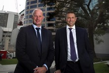 AMP NZ CEO Scott Pritchard (left) and operations general manager Peter Walkinshaw are overseeing the new ANZ tower fit-out. Photo / Natalie Slade