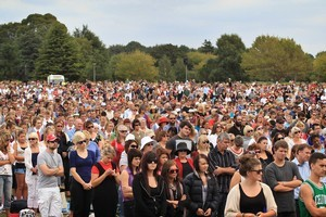 A crowd of 85,000 gathered at Hagley Park a year after the magnitude 6.3 earthquake that struck Christchurch. Photo / Greg Bowker