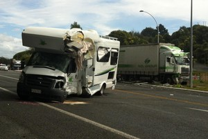 The scene of a crash between a campervan and a truck on State Highway 3 at the intersection with Waitomo Caves Road. Photo / Christine Cornege