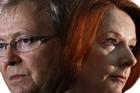 """""""Civil war"""" has broken out between Julia Gillard (right) and Kevin Rudd (left). (Image has been digitally altered). Picture / Supplied"""