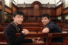 Auckland Grammar students Patrick Zeng, 17 (left), and Derek Chan, 16, hope their idea for warming air in zero-gravity will be chosen by Nasa for a space station trial. Photo / Richard Robinson