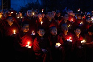 Exiled Tibetan Buddhist monks pay tribute to Tibetans who have self- immolated since March 2010. Photo / AP