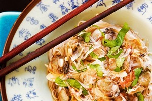 Vermicelli with clams and ponzu. Photo / Babiche Martens