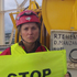 Lucy Lawless takes part in the protest. Photo / Greenpeace NZ